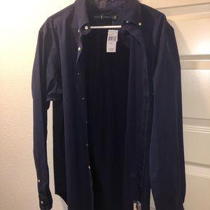 Beautiful long sleeved navy Ralph Lauren shirt